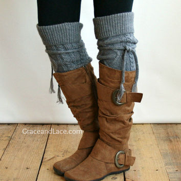Alpine Thigh High Slouch Sock Mid Grey From Grace And Lace