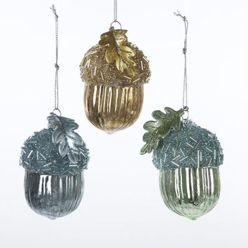 6 Christmas Ornaments - Green, Blue And Brown Acorn