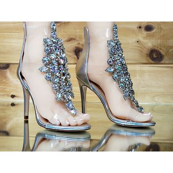"Bella Luna Rylee Rhinestone Jeweled 4"" High Heel Sandal Shoe Silver 7-11"