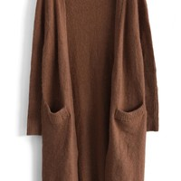 Laidback Soft Ribbed Cardigan in Brown