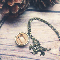 The Hobbit Map Necklace - Erebor The Lonely Mountain with Smaug charm