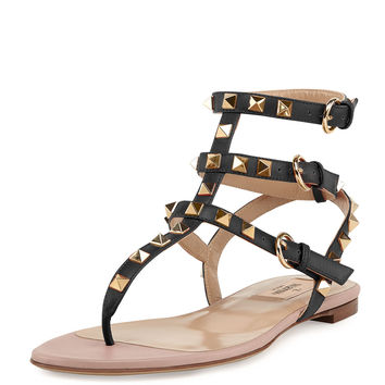 Rockstud Ankle-Wrap Thong Sandal, Nero - Valentino