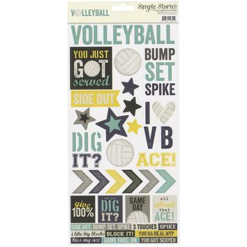 Simple Stories Volleyball Collection Cardstock Stickers