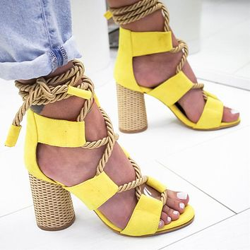 Selling Fashion Coloured Personal Fashion Fashion Fashion Ladies Large Sandals with Coarse heels and High heels
