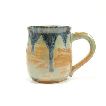 Geometric pottery mug - gunmetal green and violet mug - ooak ceramic coffee mug - stoneware mug - heavy drip glazed mug - pottery mug