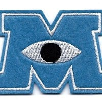Monsters University Logo Embroidered Iron On / Sew On Patch ~ Monstropolis ~ James Sullivan aka Sulley & Mike Wazowski in Monsters Inc Movie Disney Pixar