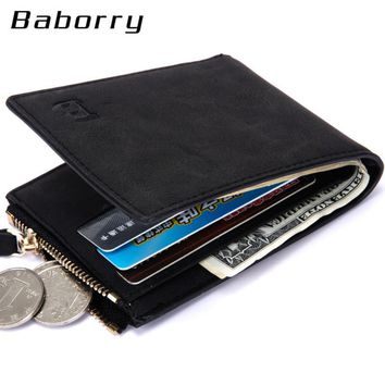 Classic Men's Top Design Coin/Cash Barborry Mini Wallet With Zipper