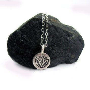Tiny Lotus Necklace, Lotus Necklace, Lotus Jewelry, Yoga Jewelry, Silver Lotus, Tiny Lotus, Charm, Yoga, Gift for her, Layering Necklace,
