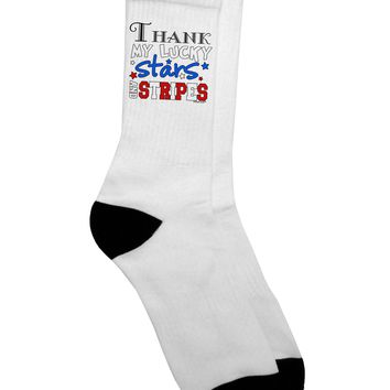 Thank My Lucky Stars and Stripes Color Adult Crew Socks  by TooLoud