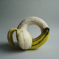Soft sculpture Banana bracelet - Needle and water felted BANANA - Textile jewelry - OOAK
