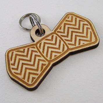 Dog ID Tag Handcrafted - Wood Chevrons Pet Bow Tie Cat Tag Laser Cut