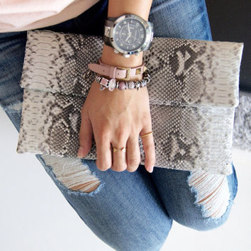 Natural python leather classic foldover clutch bag