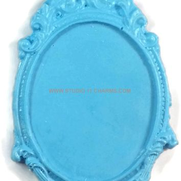 12 Resin Frame Setting Bezel Victorian Vintage Style fit 40x30 cameo BLUE 8.1