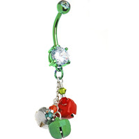 Handcrafted Holiday Jingle Bells Belly Ring