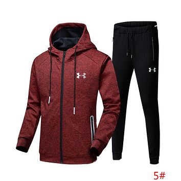 """Under Armour"" Fashion Men Casual Print Hoodie Top Sweater Pants Trousers Set Two-piece Sportswear 5# Red/Black I13689-1"