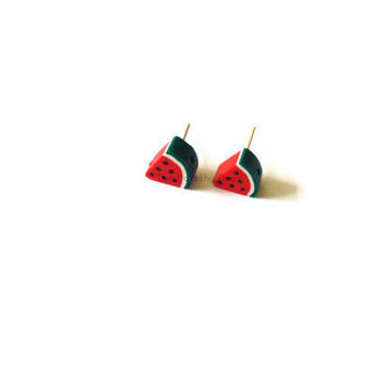 Watermelon slice earrings fruit jewellery kawaii summer melon fruit earrings etsy uk polymer clay