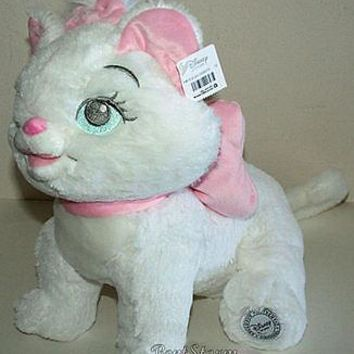 "Licensed cool NEW Disney Store 12"" The Aristocats Marie Plush Doll Soft White Cat W/ Pink Bow"