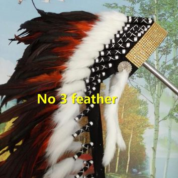 orange Indian feather Headdress 36inch indian warbonnet native american costume chief bonnet with gold headband