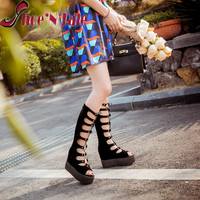 Shoe'N Tale 2016 New High Quality Women PU Leather Knee high Gladiator sandals women Long lace up heels women summer sandals