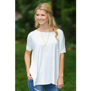 PIKO:Just About Anywhere Short Sleeve Blouse-Ivory