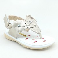 Baby Gold Floral Summer Sandal with Hook and Loop Strap