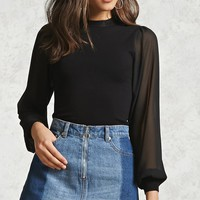Contemporary Sheer-Sleeve Top