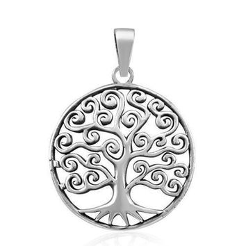 925 Sterling Silver Celtic Tree of Life Filigree Eternal Round Charm Pendant