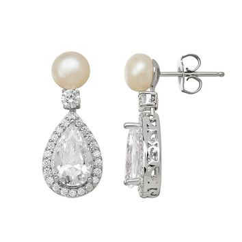Emotions Cubic Zirconia & Simulated Pearl Sterling Silver Teardrop Earrings - Made with Swarovski Cubic Zirconia (White)
