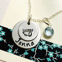 Cheerlearing Necklace, Cheerleader necklace, Cheer Necklace, Swarovski Crystal Birthstone Sterling Silver Plated Chain, Megaphone Necklace,