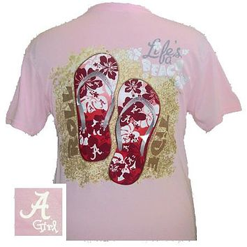 SALE Alabama Crimson Tide Summer Beach Flip Flop Pink Bright T Shirt