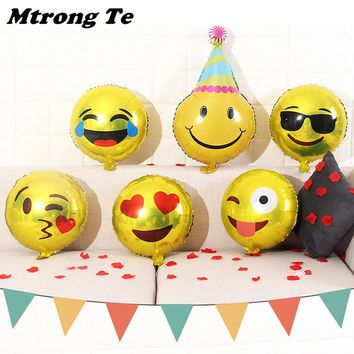 12pcs 18''Expression Emoji Foil Balloon Happy Birthday Party Decoration cool/love/kiss/naughty expression Inflatable Globos
