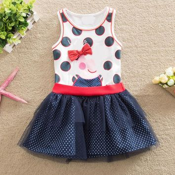 baby girl dress summer 2017 children clothing printed fashion cartoon pig princess dress girls dress cotton clothes girl vestido