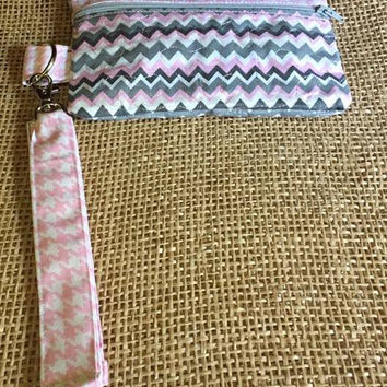 Pink Chevron & Channel Zippered Wristlet