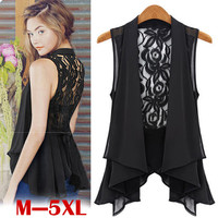 M-XXL Plus Size Woman Cardigan Coat 2016 Summer Elegant Style Sleeveless Slim Casual Long Waistcoat Asymmetric Chiffon Lace Vest