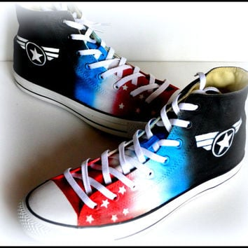 Mens Captain America Shoes, Custom Made Superhero Shoes, Painted Converse, Mens Converse, Patriot, Hero, American