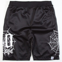 40Oz Nyc Spider Web Mens Volley Shorts Black  In Sizes