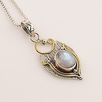 Moonstone Three Tone Sterling Silver Pendant