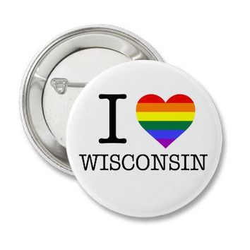 I Pride Heart Wisconsin button from Zazzle.com