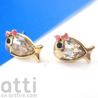 Small Fish Guppy Sea Animal Stud Earrings in Gold with Ribbon Bow Tie