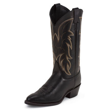 Justin Mens Royal Black Classic Western Cowhide Cowboy Boots