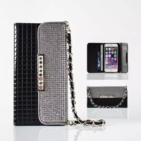 "Fashion Women Girl Lanyard Diamond Flip Wallet Leather Case For Apple iPhone 6 6S Plus 5.5"" Mobile Phone Bag Back Cover Holder"
