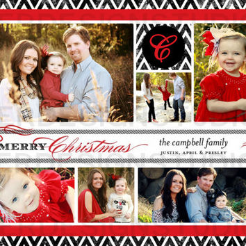 Red Black Chevron Personalized Christmas/Holiday Card - Printable