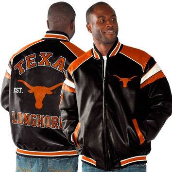 Texas Longhorns Home Team Full Zip Faux Leather Jacket - Black