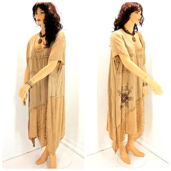 Vintage boho Indie tunic dress, plus size, embroidered bohemian hippie kaftan dress, plus size maxi tunic, SunnyBohoVintage