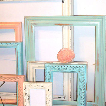8 Shabby Chic Beach Themed Distressed Picture Frames Robin's Egg Blue, Sea Foam Green, Vintage White & Coral