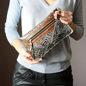 Leather wristlet wallet, iphone wallet case, pouch, floral embossed leather clutch, leather clutch bag, clutch purse in Turquoise and Brown