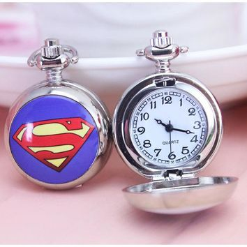 New silver superman pocket watch with chain beard pocket watches necklace pendant