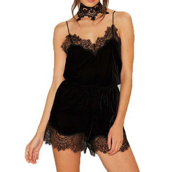 Women lace velvet sexy playsuits sleeveless black V neck rompers womens jumpsuit fashion bodysuits
