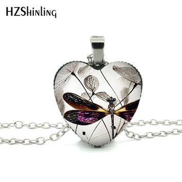 New Steampunk Dragonfly Heart Necklace Purple Dragonfly Heart Pendant Jewelry Murano Glass Heart Necklace HZ3