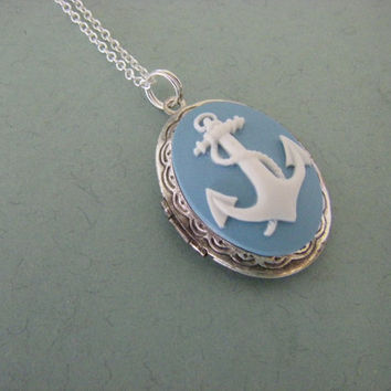 Silver Anchor Locket Necklace Sterling Silver Chain Sterling plated vintage locket ocean blue